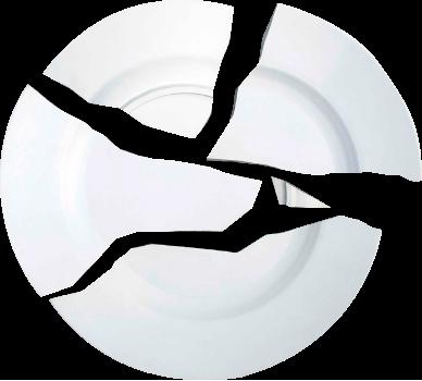 Assiette blanche cassée