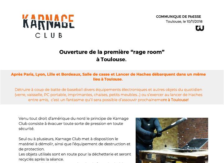Aperçu du communiqué de presse rédigé pour l'ouverture du Karnage Club
